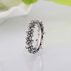 ef2c8a317 Pandora Womens Ring Dazzling Daisy Meadow Cubic Zirconia 925 Sterling Silver  Ring Finger, Stackable Rings