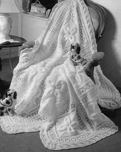 Knitted Shawl and Cot Blanket -- Knittng Pattern in DK. Warm winter shawl