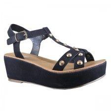 Marypaz - Sandalia negra de plataforma con tachuelas