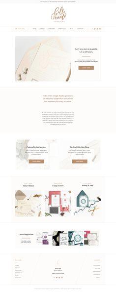 Hello Invite Design Studio   Custom Web Design by With Grace and Gold   #web #design #designs #designer #designers #custom #professional #polished #classic #handlettering #lettering #lettered #with #grace #and #gold #blush #cream #gold #stationery #photographer #photographers #for