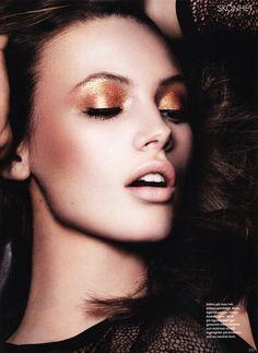 gold glitter.... Mona Johannesson by John Scarisbrick for Elle Sweden April 2013