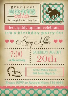 Printable Cowgirl Invitation and Party by EThreeDesignStudio, $30.00