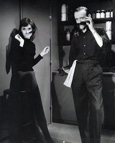 "nypl: ""In this special edition of Mustache Monday, Audrey Hepburn clowns around with Fred Astaire during the filming of Funny Face. Lovers of Audrey Hepburn, New York City, and NYPL already know that. Fred Astaire, Tony Curtis, Katharine Hepburn, Classic Hollywood, Old Hollywood, Hollywood Images, Hollywood Actresses, Beautiful Celebrities, Beautiful People"