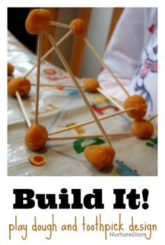 Building designs with playdough and toothpicks :: sensory play :: STEM and STEAM activity for kids