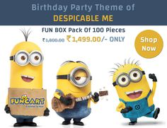 Birthday Party Theme Of Despicable Me Fun Box Pack of 100 Pieces Rs.1,499.00/- ONLY Shop Now-http://goo.gl/SNRDv6  #Despicableme #funcart #funbox #partysupplies #celebrateinstyle #minions