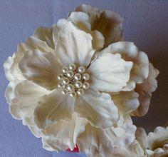Custom Order  Edible Wedding  White Peony Cake Topper by SweetIdeaFlowers on Etsy