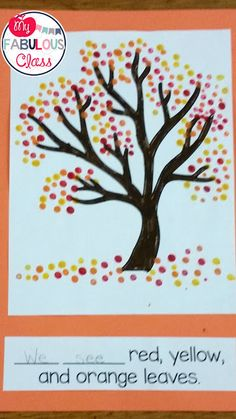 Free template for fall tree with q-tip painting. Great Craft.