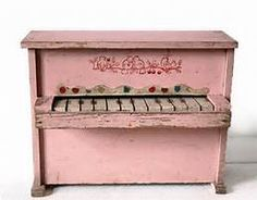 Little vintage pink French wooden PIANO with by uneviedeboheme