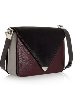 Alexander Wang|Prisma leather and calf hair shoulder bag|NET-A-PORTER.COM