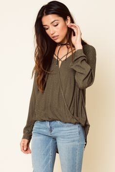Olive crossover wrap blouse Dry clean only #womentops #womens #fallfashion #falltops #autumnhues #cutetops #flavourgirl #flavourtops