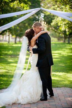 First kiss, so sweet! At The Walnut Grove on the Tierra Rejada Ranch in Moorpark Ca. www.walnutgroveweddings.com