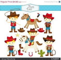 ON SALE Cowboys Digital clip art - cowboy clip art, cute horse, boys birthday party invites, INSTANT Download