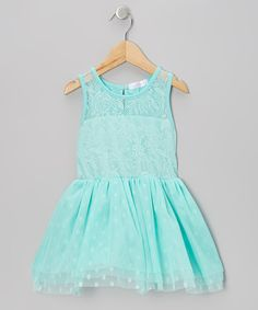 Take a look at this Turquoise Lace Polka Dot Tulle Dress - Infant, Toddler & Girls on zulily today!
