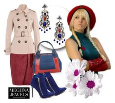 """Meghna Jewels 39"" by irinavsl ❤ liked on Polyvore featuring River Island, Burberry, Balenciaga and Meghna Designs"