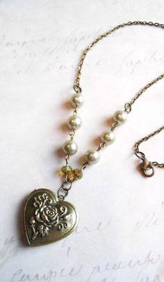 Heart locket vintage inspired brass locket rose