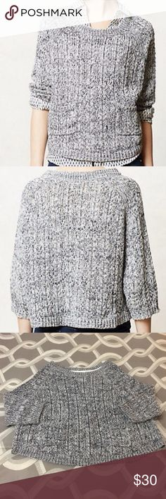 """Anthropologie Moth """"Marled Swing"""" Sweater Like New Anthropologie """"Marled Swing"""" Sweater.  Wear everywhere pullover sweater with front pockets.  21.25"""" long.  Size M. So cute! Anthropologie Sweaters Crew & Scoop Necks"""