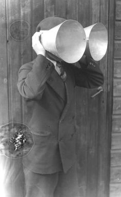 Acoustic Radar.Dutch personal horns: 1930s One of the experimental 'personal sound locators' tested by the Dutch military research station at Waalsdorp, before the personal parabolas above were adopted as the best solution.