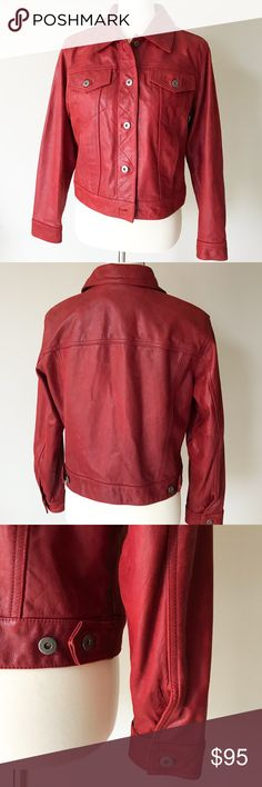 Liz Claiborne • red leather jacket Stunning high quality leather jacket in a vibrant red. This jacket is in excellent vintage condition. Size petite medium but may be able to fit a large. Has two hidden side pockets on the outside and a inside breast pocket as well.  Material: 100% leather exterior, 100% cotton body lining, 100% acetate sleeve lining  Origin: Made in China Care: Professional leather cleaning only Liz Claiborne Jackets & Coats