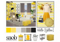 Hello Yellow Olioboard by SNOB Interior Design features CR Laine's Gavin Leather Chair, Claybourne Leather Sofa, and Pod Leather Pouf Ottomans Leather Pouf Ottoman, Leather Sofa, Yellow Fashion, Staging, Color Combos, Decor Styles, Interior Design, Yellow Style, House Styles