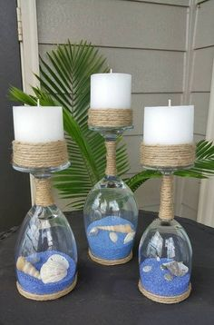 Seashell and Sand Wine Glass Candle Holders (Set of Seashell and sand glass of wine candle holder Wine Glass Candle Holder, Wine Candles, Glass Candle Holders, Candle Stands, Wine Glass Crafts, Wine Bottle Crafts, Bottle Art, Wine Bottles, Baby Bottles