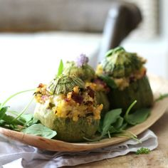 Delicious globe zucchini stuffed with millet and cottage cheese stuffing - light and healthy summer dish (in Polish with translator)