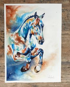 Contemporary watercolour commission 🤩 There is such a great deal of happy energy coming off this one, I feel like hes jumping towards me. I hope you like him Watercolor Artwork, Watercolor Animals, Watercolour, Horse Artwork, Brown Art, London Art, Contemporary Artwork, Animal Paintings, Pet Portraits