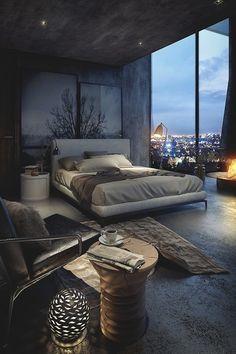 Inspiração decoração quarto cinza - cama