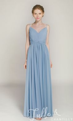 Long V-neck Bridesmaid Dress with Spaghetti Straps TBQP368 click for 40+ colors