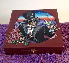 Grateful Dead-Custom Hand Painted Cigar Box–Skull Decor-Cigar Box–Box-Smoking Decor-Fine Art-Stash Box-Jewelry Box-Smoke Box–Music Décor by TimothyDaviesArt on Etsy