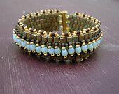Embellished Peyote Stitch Bracelet - Bronze, gold, brown and blue  $65.00