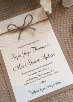Vintage/Rustic Lace wedding invitation with by TheVowSheffield