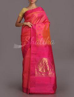 Kalpana Big Gold Peacock Motifs Pure #SalemSilkSaree