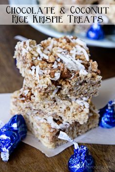Coconut Creme Krispie Treats from Plucker Plucker Bergthold Cereal Treats, No Bake Treats, Yummy Treats, Sweet Treats, Easy No Bake Desserts, Fun Desserts, Delicious Desserts, Dessert Recipes, Rice Krispy Treats Recipe