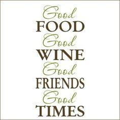 Good Food Good Wine Decal | Vinyl Stencil-decal, sticker, food, wine, friends, quote for kitchen, stencil,