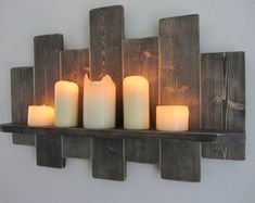 Reclaimed wooden home accessories & furniture by TimberWizards Led Candles, Candle Sconces, Country Cottage Furniture, Wood Floating Shelves, Shabby, Wood Pallets, Pallet Wood, Rustic Walls, Wood Wall