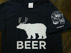 Beer Bear + Deer + Beer Funny Bear with Deer antlers graphic logo T Shirt