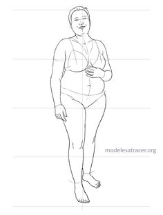 a variety of line drawings of plus size, adolescent, and more realistic body types