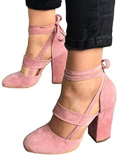 03947f218a0ee6 Amazon.com  Huiyuzhi Womens Chunky Ankle Strappy Sandal Pumps Lace Up High  Heels (