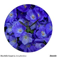 Blue Bells Carpet Large Clock by Jenny Rainbow. Blue Wall Clocks, Blue Bells, Large Clock, Buy Art Online, Fine Art Photography, Gifts For Him, Carpet, Rainbow, Store