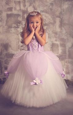 New Custom Made Lavender White Color Pearl Girl Pageant Flower Girl Dresses