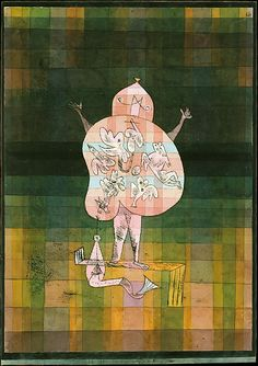 Ventriloquist and Crier in the Moor Paul Klee (German (born Switzerland), Münchenbuchsee 1879–1940 Muralto-Locarno) Date: 1923 Imaginery beasts float within a transparent ventriloquist who appears to be all belly-except, of course, for a pair of legs, tiny arms, and a sort of head without a mouth. The little creatures inside the ventriloquist might symbolize the odd noises and voices that seem to emanate from him