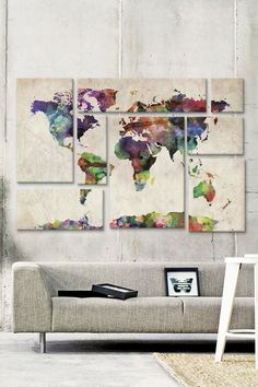 Love this idea for a DIY - use different sized canvases to create a piece of art. I feel like I could create something like this for less than $289...World Map Urban Watercolor II 8 Panel Sectional Wall Art on @HauteLook