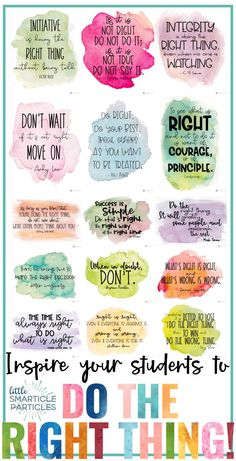 """Growth Mindset Inspirational Quote Posters About """"Doing the Right Thing"""" - Bildung Vie Motivation, Baby Drawing, Kindergarten Graduation, Character Education, Motivational Quotes, Poster Quotes, Inspirational Quotes For Kids, Inspire Quotes, Inspirational Classroom Posters"""