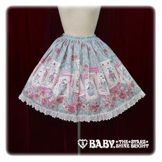 Wonder Story Comes In The Rose Blooming Night Skirt ~ Sax, Ivory, Pink