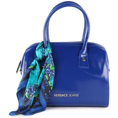 Versace Jeans Women's Mini High Shine Shopper Scarf Blue Bag ($200) ❤ liked on Polyvore featuring bags, handbags, purses, bolsas, borse, zip pouch, zipper pouch, mini hand bags, mini pouch and blue purse