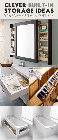 Lots of great ideas in this round-up of built in storage projects! Easy projects and tutorials for you to try! #builtinstorageideas #built-instorageideas #DIYbuiltinstorageideas #DIYbuiltinstorageprojects #DIYhomedecor #DIYbathroomstorage #DIYkitchenstorage Tiny House Storage, Small Bathroom Storage, Wall Storage, Bedroom Storage, Bathroom Organization, Organization Ideas, Storage Mirror, Mirror Drawers, Cabinet Storage