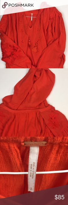 a04f2203a47c NWOT Free People Hooded Peasant Top NWOT Free People Hooded Peasant Top  Color  orange-