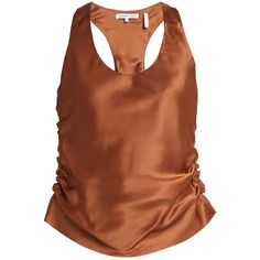 Helmut Lang Ruched silk-satin cami top ($224) ❤ liked on Polyvore featuring tops, ruched tank top, helmut lang tank, brown tank, silk satin camisole and ruched tops
