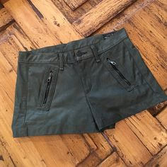 "Rag & Bone Leather Shorts - Like New These are a true to size 27, the color is ""Army"" which is a very warm army green, lamb skin leather. Front zippered pockets, no stains, tears or damage of any kind. rag & bone Shorts"