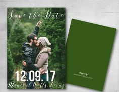 Fully customized wedding photo save the date fall 2017 2018 Invitation photo invitation diy or printed green christmas winter wedding by atasteofeverything on Etsy https://www.etsy.com/listing/509734279/fully-customized-wedding-photo-save-the